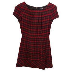 Red Plaid Wool BCBG Dress